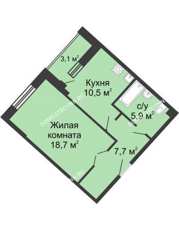 1 комнатная квартира 46,1 м² в ЖК Монолит, дом № 89, корп. 3