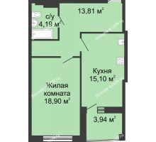 1 комнатная квартира 55,4 м² в ЖК Тихий Дон, дом № 1 - планировка