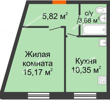 1 комнатная квартира 35,02 м², ЖК Советский - планировка