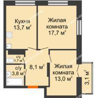 2 комнатная квартира 58,93 м² в ЖК Заречье, дом №1, секция 2 - планировка