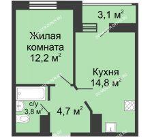 1 комнатная квартира 37,05 м² в ЖК Цветы, дом № 10 - планировка