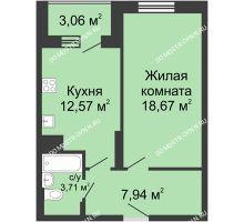 1 комнатная квартира 45,95 м² в ЖК Красная поляна, дом № 6