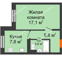 1 комнатная квартира 34,3 м² в ЖК Жюль Верн, дом № 1 корпус 2