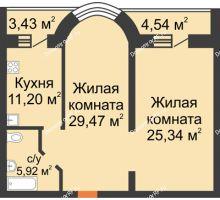 2 комнатная квартира 79,9 м², ЖК На Владимирской - планировка