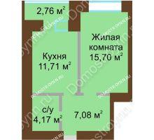 1 комнатная квартира 40,04 м² в ЖК Солнечный город, дом на участке № 214