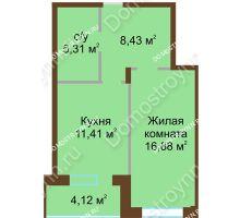 1 комнатная квартира 46,15 м² в ЖК Солнечный город, дом на участке № 208