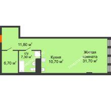 Студия 64,8 м² в ЖК Георгиевский, дом 2а - планировка