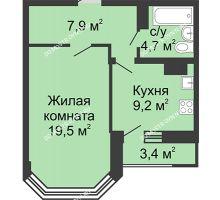 1 комнатная квартира 42,7 м² в ЖК Цветы, дом № 18 - планировка