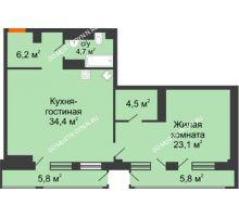 1 комнатная квартира 75,12 м² в ЖК Георгиевский, дом 6 - планировка