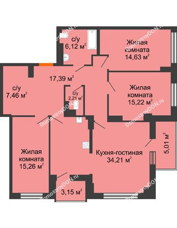 4 комнатная квартира 116,71 м² в ЖК Аврора, дом № 3