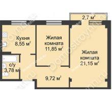 2 комнатная квартира 55,86 м² в ЖК Тридесятое, дом № 23 - планировка