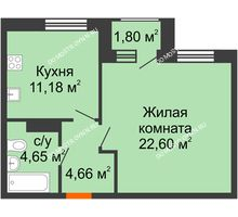 1 комнатная квартира 43,99 м² - Дом на Чаадаева