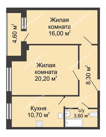 2 комнатная квартира 61,1 м² - ЖК Дом на Береговой