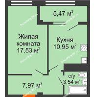 1 комнатная квартира 45,46 м² в ЖК Малахит, дом № 1 - планировка