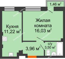 1 комнатная квартира 36,01 м², ЖК Онегин - планировка