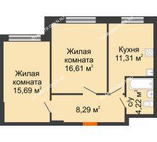 2 комнатная квартира 56,12 м² в ЖК Москва Град, дом 60/1 - планировка