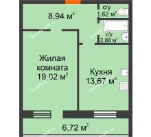 1 комнатная квартира 52,85 м², ЖК Дом на Троицкой - планировка