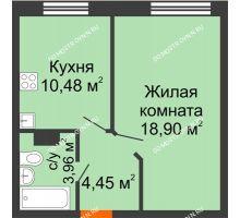 1 комнатная квартира 37,79 м², ЖК Зеленый берег Life - планировка