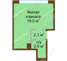 1 комнатная квартира 24 м² в ЖК НОВИНКИ Smart City, дом № 21 - планировка
