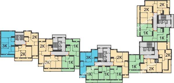 Планировка 9 этажа в доме № 1 в ЖК Корица