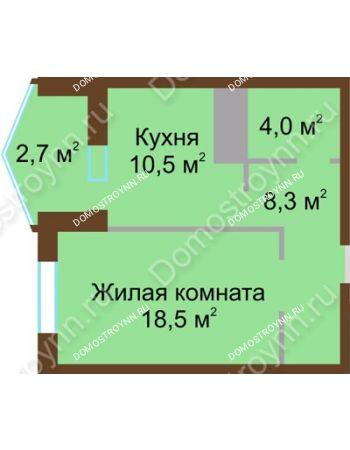 1 комнатная квартира 44 м² в ЖК Монолит, дом № 89, корп. 1, 2