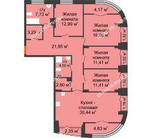 4 комнатная квартира 130,71 м², Клубный дом на Ярославской - планировка
