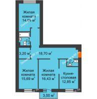 3 комнатная квартира 89,06 м² в ЖК Новоостровский, дом №1 корпус 1 - планировка