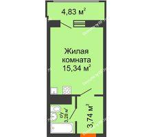 Студия 24,78 м² в МКР Родные просторы, дом Литер 10 - планировка