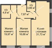2 комнатная квартира 84,91 м² в ЖК TRINITY (Тринити), дом № 1 - планировка