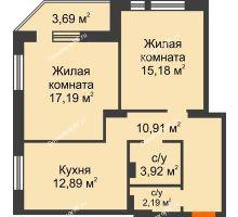 2 комнатная квартира 63,39 м² в ЖК Континент, дом № 16 - планировка