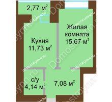 1 комнатная квартира 40,005 м² в ЖК Солнечный город, дом на участке № 214 - планировка