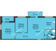 3 комнатная квартира 78,9 м², ЖК Дом мечты - планировка