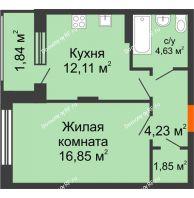 1 комнатная квартира 41,59 м² в ЖК Суворов-Сити, дом 1 очередь секция 6-13 - планировка