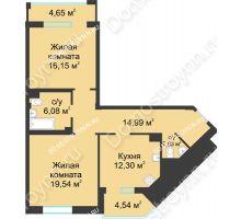 2 комнатная квартира 75,68 м² в ЖК Воскресенская слобода, дом №1 - планировка