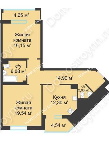 2 комнатная квартира 75,68 м² в ЖК Воскресенская слобода, дом №1