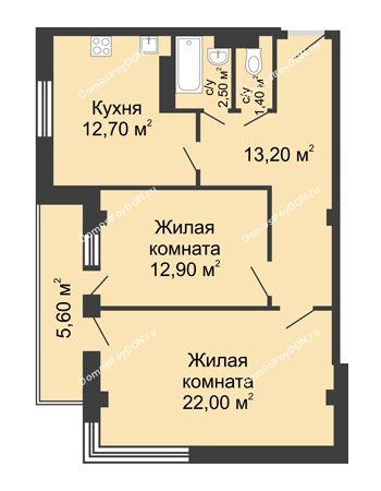 2 комнатная квартира 67,5 м² - ЖК Дом на Береговой