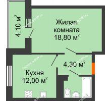 1 комнатная квартира 41,2 м² в ЖК Я, дом  Литер 2 - планировка
