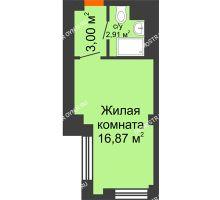 Студия 22,78 м², Апарт-Отель Гордеевка - планировка