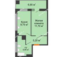 1 комнатная квартира 34,6 м² в ЖК Грин Парк, дом Литер 2 - планировка