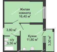 1 комнатная квартира 36,8 м², ЖК Сказка - планировка