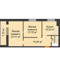 2 комнатная квартира 75,14 м² в ЖК Парк Горького, дом 62/18, № 6 - планировка