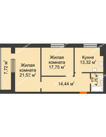 2 комнатная квартира 75,14 м² в ЖК Парк Горького, дом 62/18, № 6