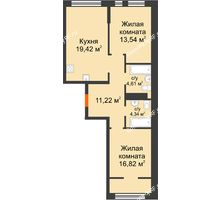 """2 комнатная квартира 69,95 м² в Микрорайон Звездный, дом ГП-1 (Дом """"Меркурий"""") - планировка"""