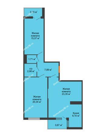 3 комнатная квартира 81,25 м² в ЖК Семейный парк, дом Литер 2
