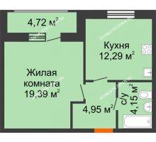 1 комнатная квартира 45,5 м² в ЖК Подкова на Гагарина, дом № 2