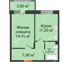 1 комнатная квартира 39,1 м² в ЖК Цветы 2, дом № 4 - планировка