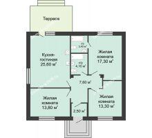 3 комнатная квартира 86,8 м² в КП Green Park (Грин Парк), дом коттедж 86.8 м² - планировка