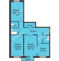 3 комнатная квартира 98,9 м² в Микpopaйoн  Преображенский, дом № 22.3 - планировка