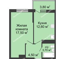 1 комнатная квартира 41,1 м² в ЖК Первый, дом Литер 1 - планировка