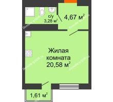 Студия 28,53 м² в ЖК Мечников, дом ул. Таврическая, 4 - планировка